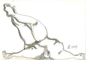 10 x 15 cm Madone Endormie (c) Confais Encre, aquarelle et techniques diverses sur papier