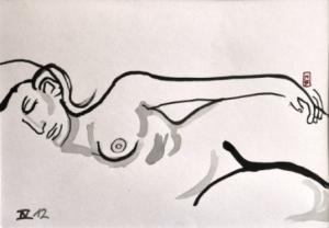 13 x 18 cm Chut Je Dors ! (c) Confais Encre de chine sur papier