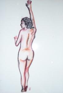 21 x 28,5 cm Nu debout de dos (c) Confais Encre, aquarelle et techniques diverses sur papier