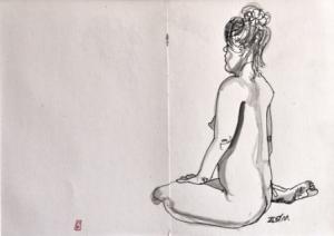 26 x 18 cm Nu Assis De Dos (c) Confais Encre, aquarelle et techniques diverses sur papier