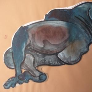 30 x 30 cm La Baleine (c) Confais Encre, aquarelle et techniques diverses sur papier
