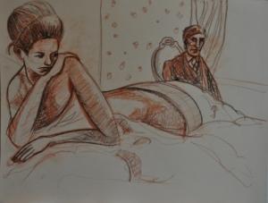 50 x 65 cm l'attesa (c) Confais Sanguine et pastel sur papier