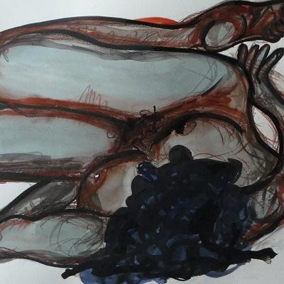 50 x 65 cm La Chevelure (détail) (c) Confais Aquarelle, encre et techniques diverses sur papier