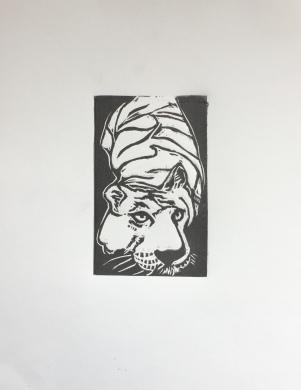 (c) Confais Le Tigre 20 x 30 taille d'épargne - Linogravure