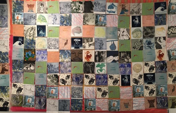(c) Confais et le collectif de l'atelier aux Lilas - 2018 - habillée pour l'hiver - estampes sur toile peinte. 130 x 100 cm