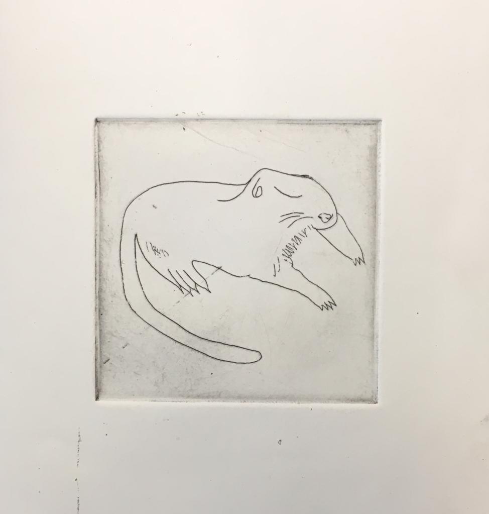 (c) Confais Les Hibernés Le Spermophile Eau Forte 10x10 imprimé sur papier Hahnemühle 20x20 en 40 exemplaires numérotés et signés
