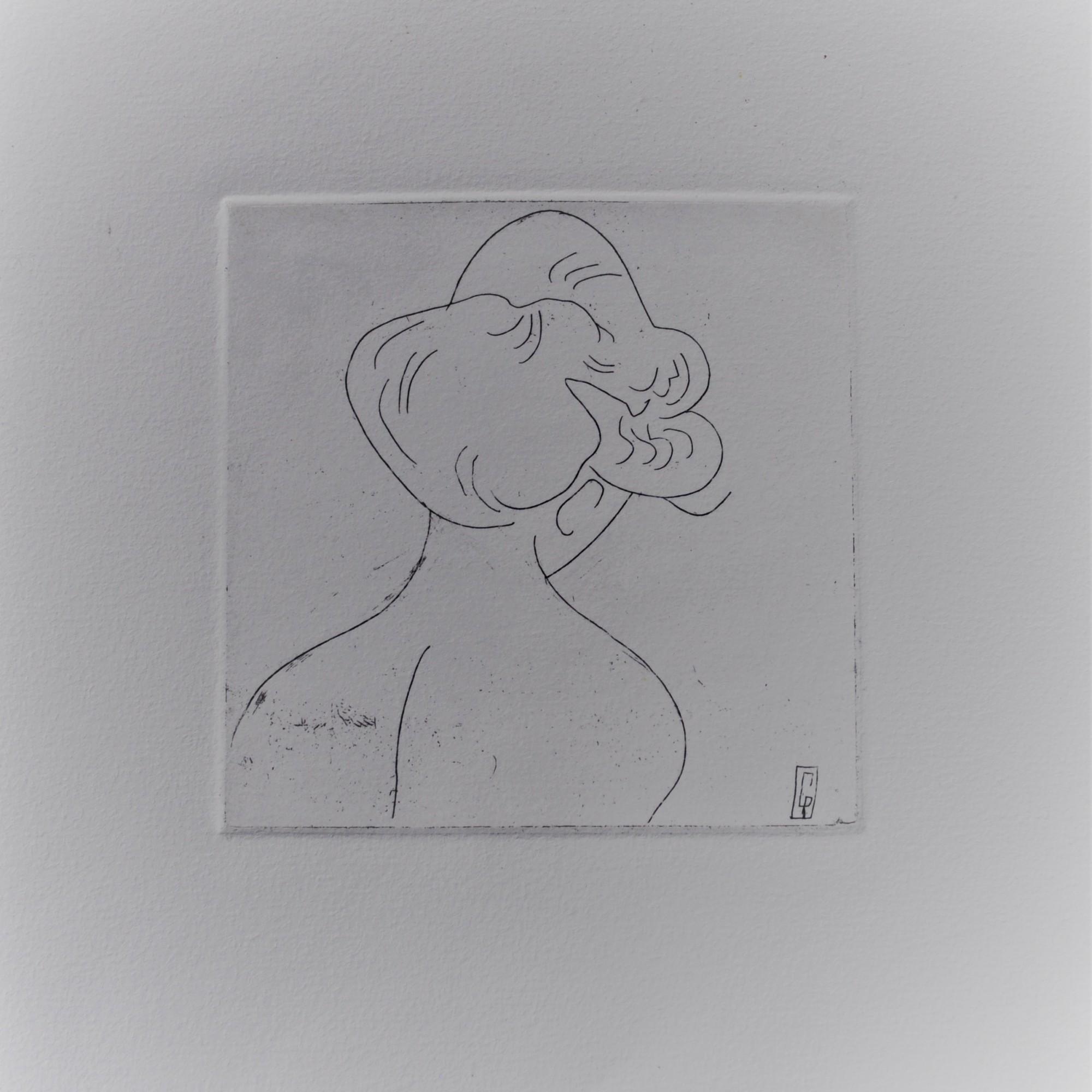 (c) Confais La Coiffure Eau Forte matrice 10x10 imprimée sur papier Hannemühle 20x20 en 40 exemplaires numérotés signés
