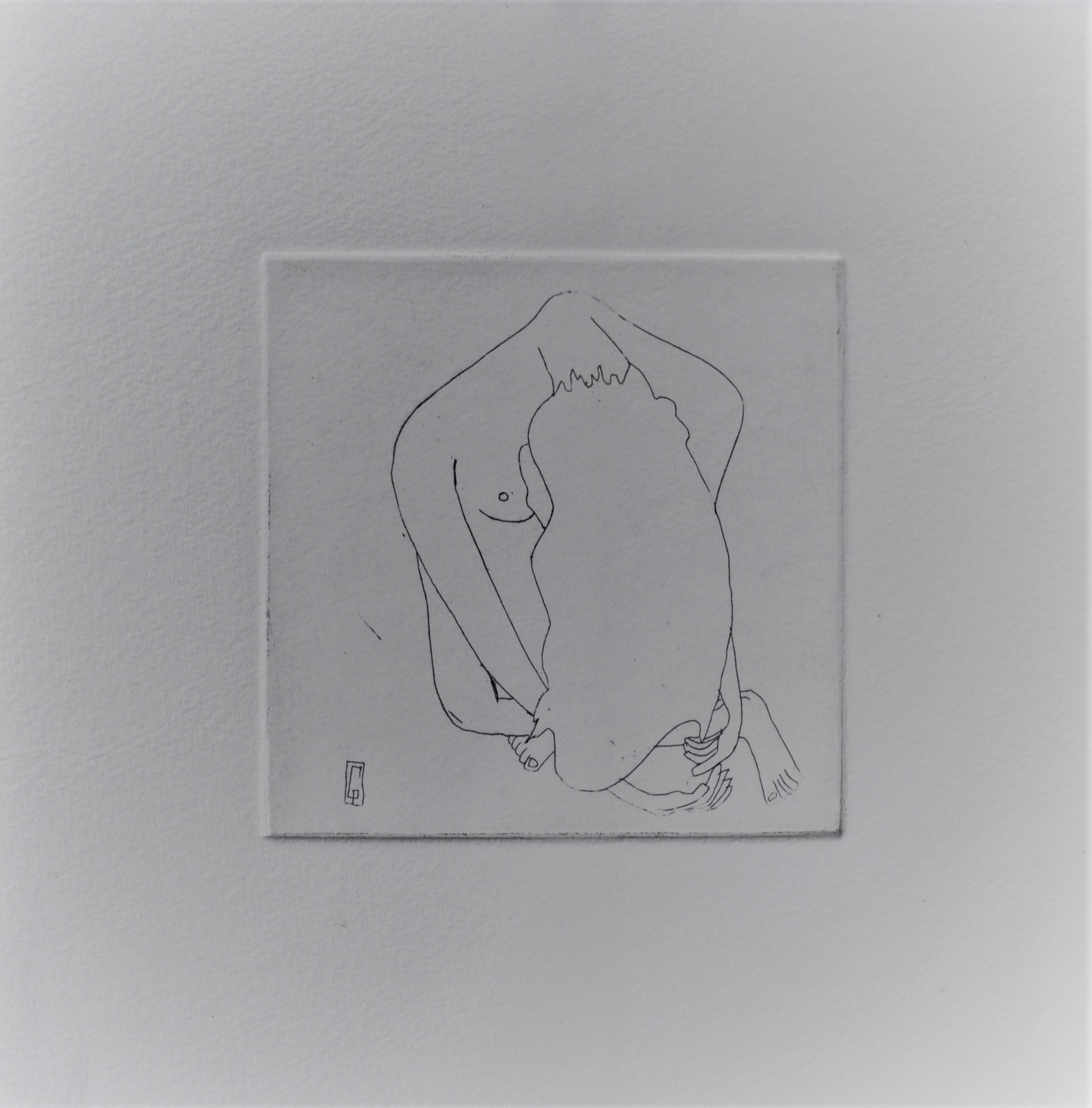 (c) Confais Le Repos Eau Forte matrice 10x10 imprimée sur papier Hannemühle 20x20 en 40 exemplaires numérotés signés