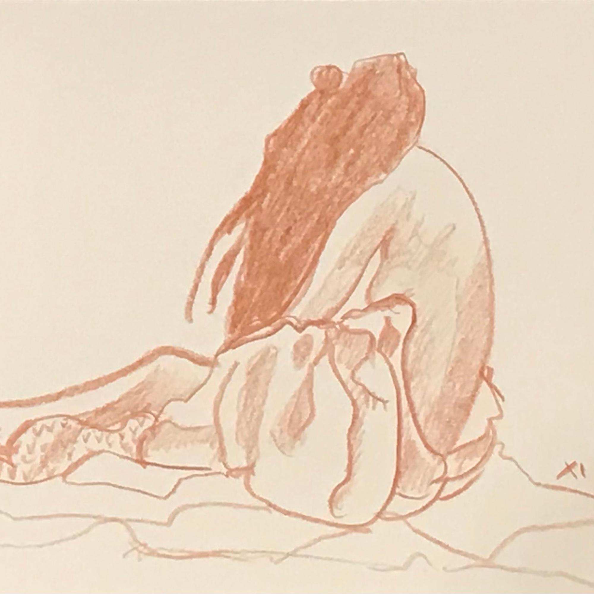 (c) Confais Nu drapé Draped Nude dessin sanguine 15x20