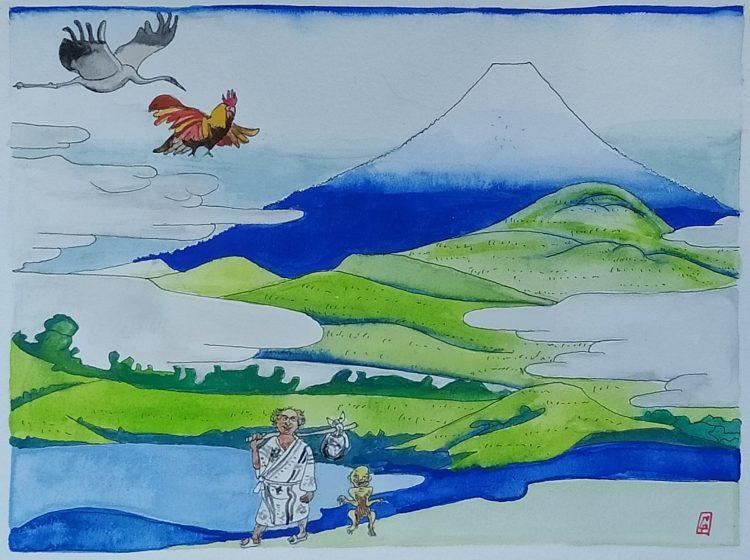 (c) Confais Retour du Japon avec Hyosube Gouache sur papier 20x30